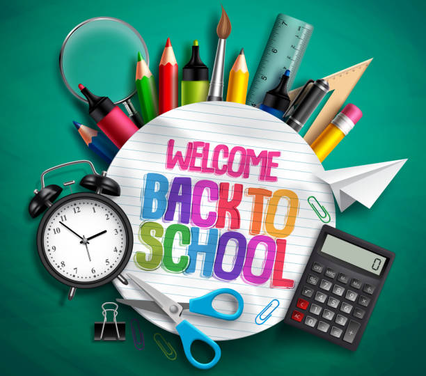 welcome back to school vector banner with school supplies, education elements and colorful text - back to school stock illustrations