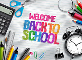 Welcome back to school vector design template with school supplies, education elements and colorful text in white paper texture background. Vector illustration.