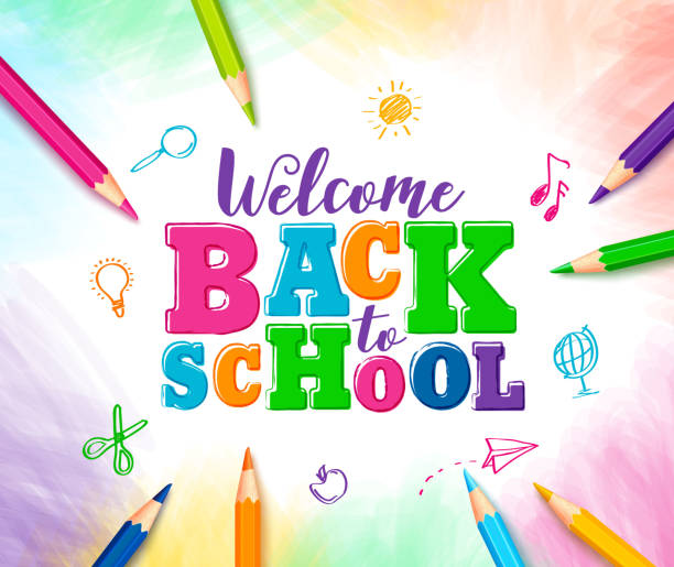 welcome back to school vector design with colorful text - primary school stock illustrations, clip art, cartoons, & icons