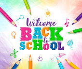 Welcome back to school vector design with colorful text