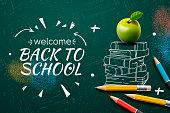 Welcome Back to School web banner, doodle on black chalkboard background, vector illustration.