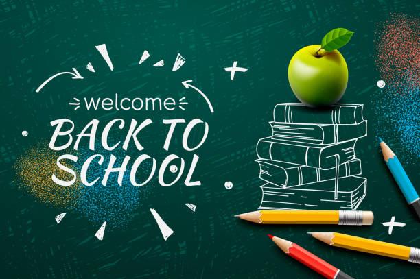 Welcome Back to School web banner, doodle on black chalkboard background, vector illustration. Welcome Back to School web banner, doodle on black chalkboard background, vector illustration. back to school stock illustrations
