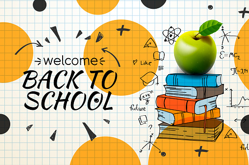 Welcome Back to school web banner, doodle on checkered paper background, vector illustration.