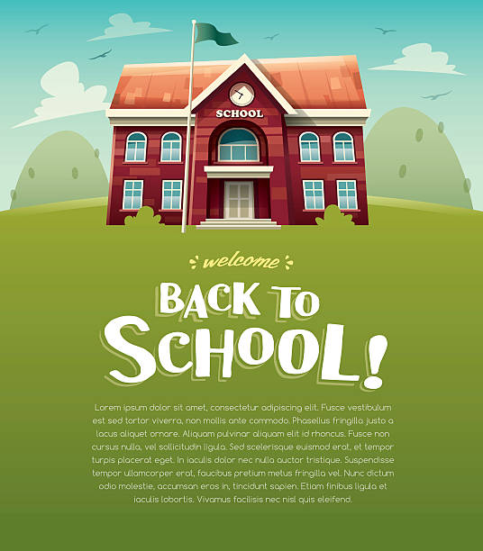 Welcome back to school! Wide copy space for text. Vector illustration of school building for back to school poster or banner.  schoolhouse stock illustrations