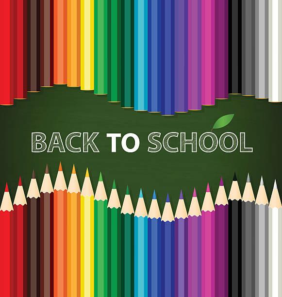 Willkommen zurück in der Schule mit Farbe Stifte Hintergrund Vektor krank – Vektorgrafik