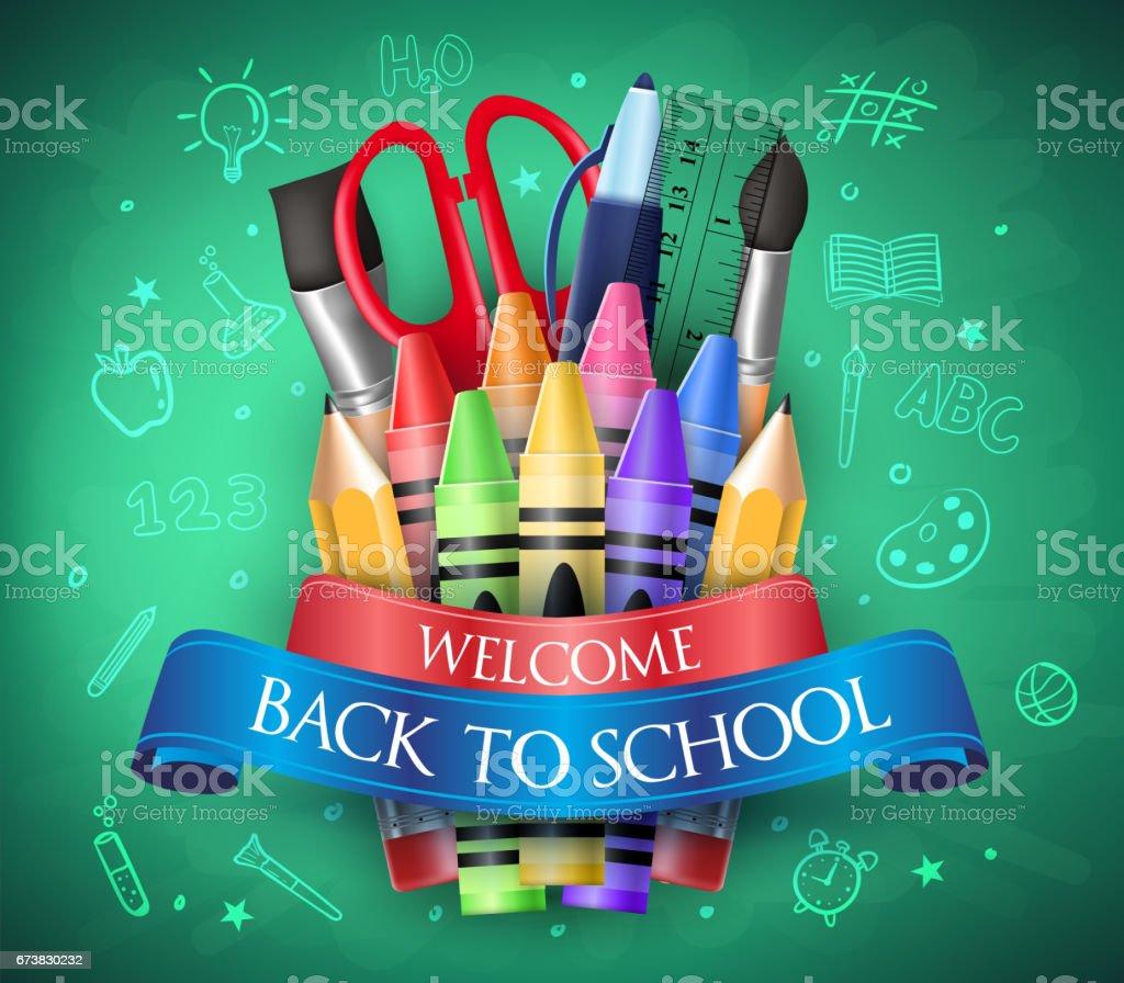 Welkom terug op School met lint, kleurpotloden en School artikelenvectorkunst illustratie