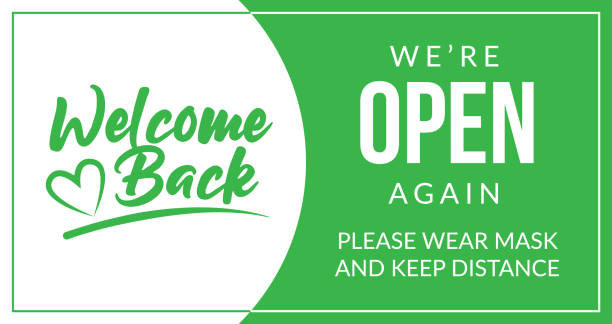 Welcome back! We are open again. Keep social distance and use a face mask. Vector open sign for the door front door sign open sign stock illustrations