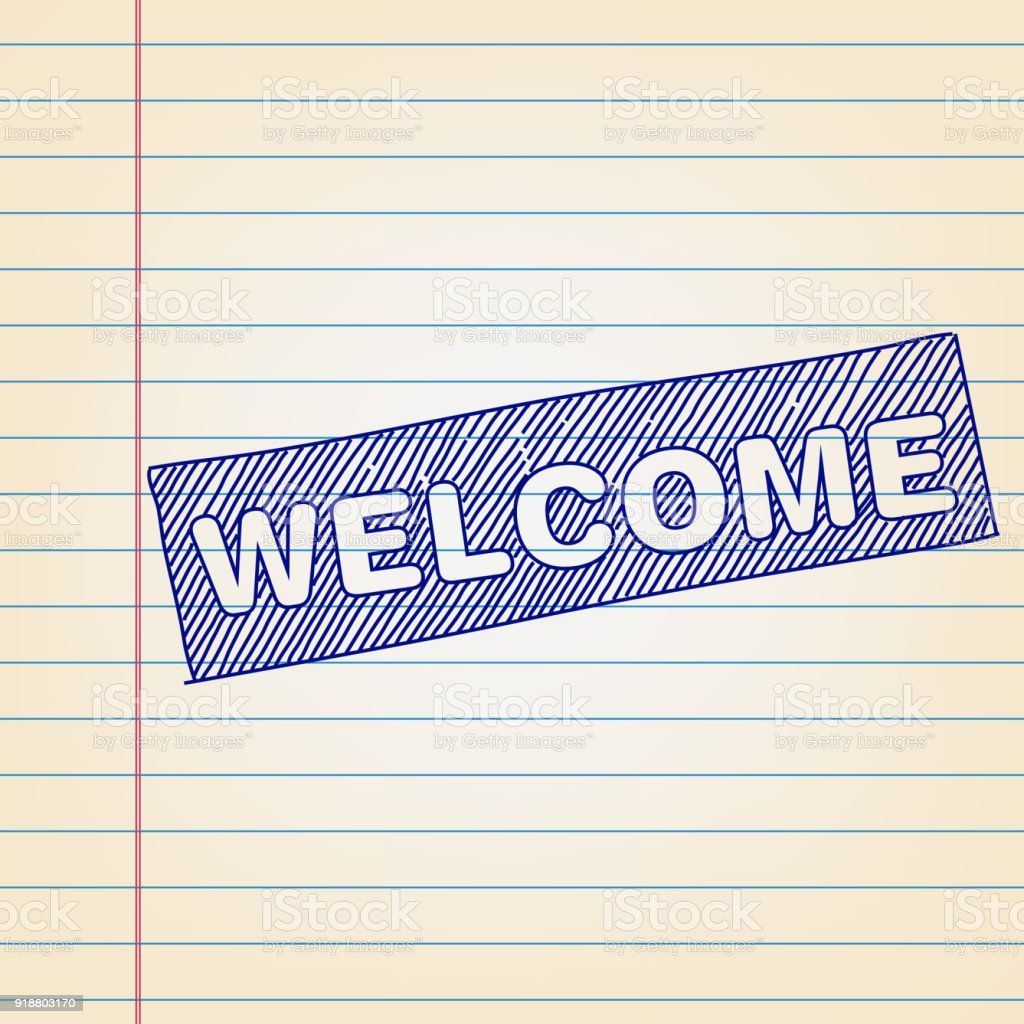 Welcome banner drawing on lined paper stock vector art more images symbol text usa banner sign clip art buycottarizona Gallery