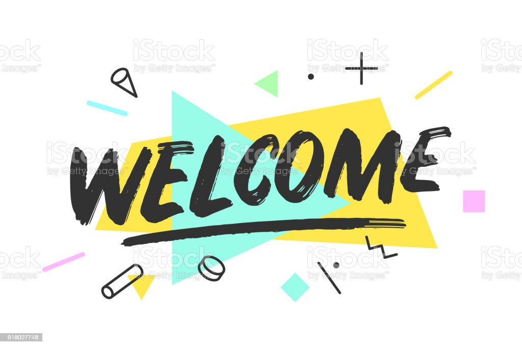 Welcome. Banner, speech bubble vector art illustration