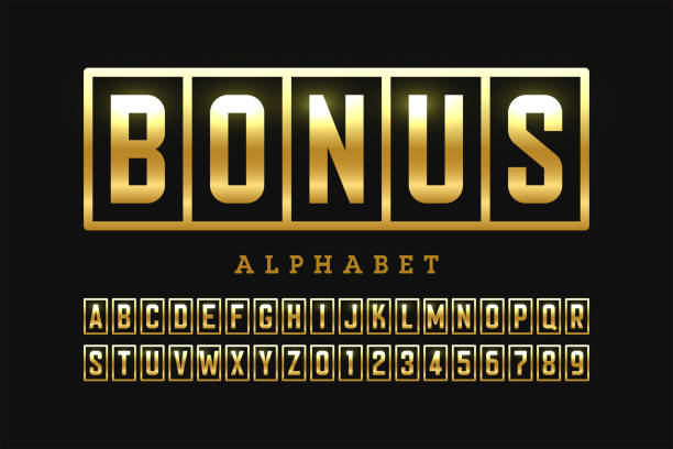 Welcome Bonus font Welcome Bonus casino banner design font, slot machine style alphabet letters and numbers vector illustration lottery stock illustrations