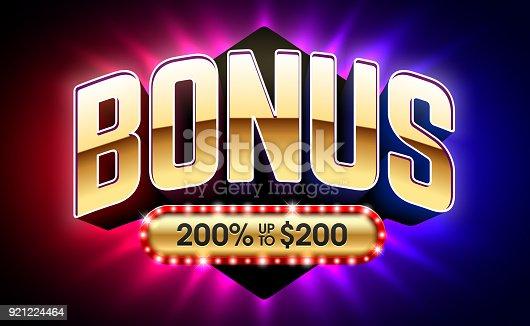 Welcome Bonus, gambling games casino banner vector illustration