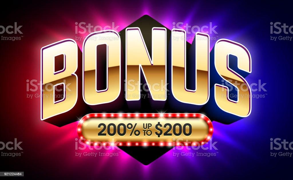 Bem-vindo bônus, bandeira de cassino jogos de jogos de azar - ilustração de arte em vetor