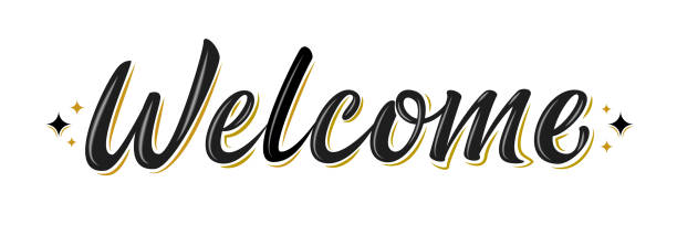 Welcome brush lettering sign with black / gold stars. Welcome lettering sign. Handwritten modern brush lettering on white background. Text for postcard, invitation, T-shirt print design, banner, poster, web, icon. Isolated vector illustration. welcome sign stock illustrations
