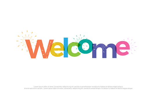 welcome colorful icon. welcome typography design with fireworks Use as photo overlay, place to card, poster, prints, t shirt. Vector Illustration