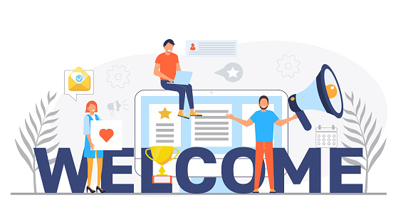 Welcome concept flat vector foe website. Happy tiny people are near huge text. Cartoon office teamwork and are greeting clients in online office, shop