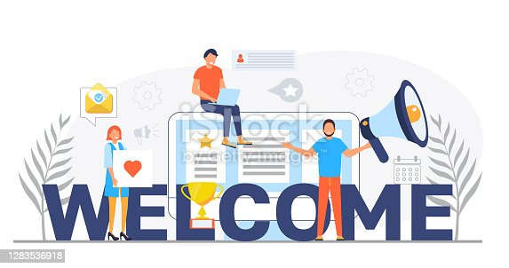 istock Welcome concept flat vector foe website. Happy tiny people are near huge text. Cartoon office teamwork and are greeting clients in online office, shop 1283536918
