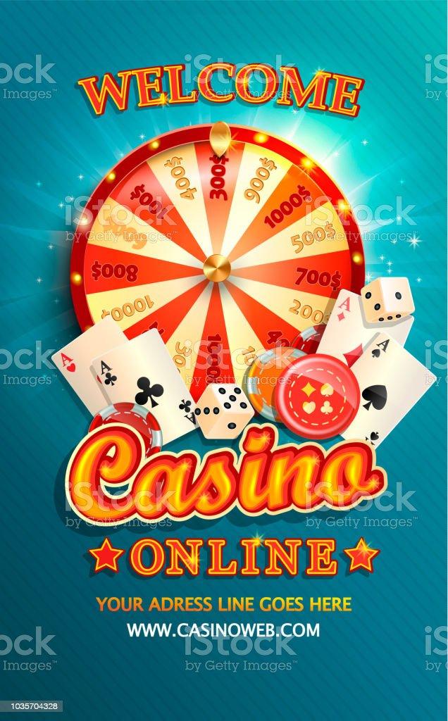 Welkom flyer voor online casino met pokerkaarten. - Royalty-free Achtergrond - Thema vectorkunst