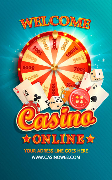 Welcome flyer for casino online with poker cards. Welcome flyer for casino online with poker cards, playing dice, chips, fortune wheel and other gambling design elements. Invitation poster template on shiny background. Vector illustration. casino stock illustrations