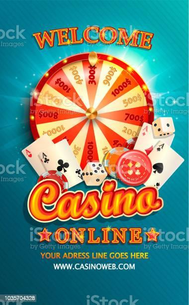 Welkom Flyer Voor Online Casino Met Pokerkaarten Stockvectorkunst en meer beelden van Achtergrond - Thema