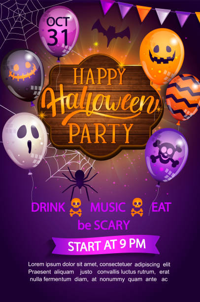 welcome flyer for happy halloween party. - halloween candy stock illustrations