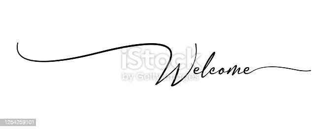 Welcome hand drawn brush lettering. stock illustration