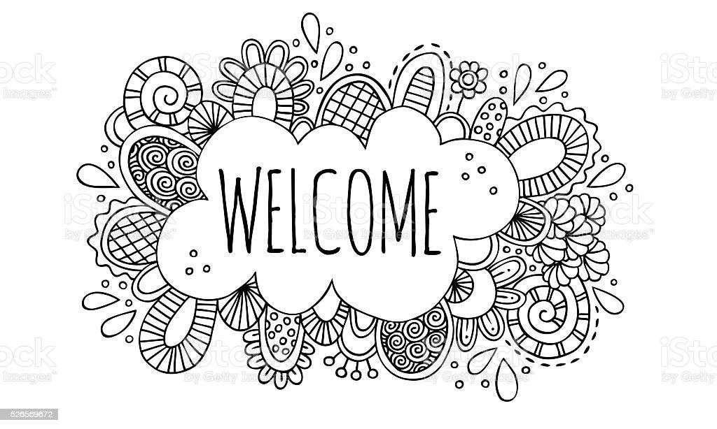 Welcome Hand Drawn Doodle Vector Illustration vector art illustration