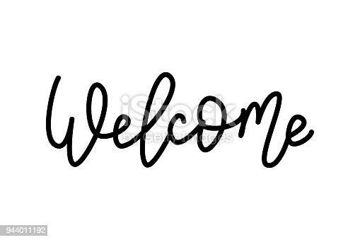 Bienvenue Mot De Main De Lettrage La Main Signe De