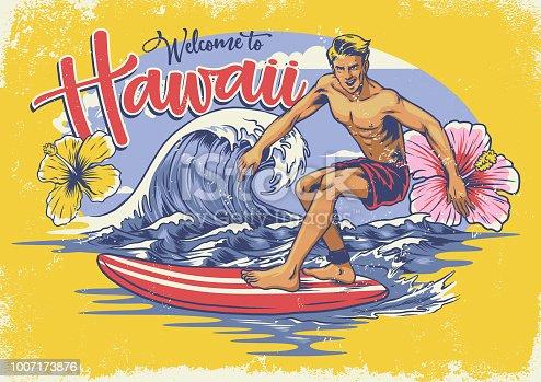 vector of welcome hawaiian surfing