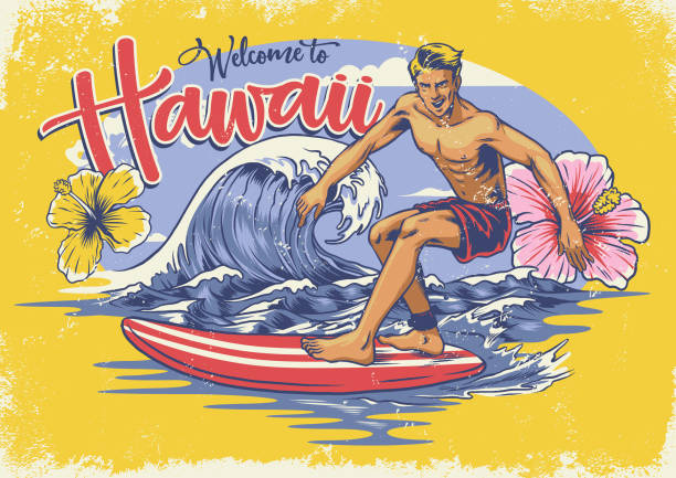 welcome hawaiian surfing vector of welcome hawaiian surfing surf stock illustrations
