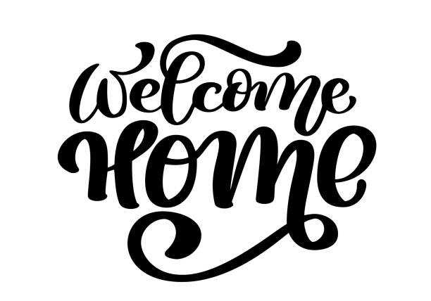 ilustraciones, imágenes clip art, dibujos animados e iconos de stock de bienvenido inicio tarjeta o cartel. letras dibujadas a mano. caligrafía moderna. texto artístico aislado. ilustración de vector de tinta - saludar