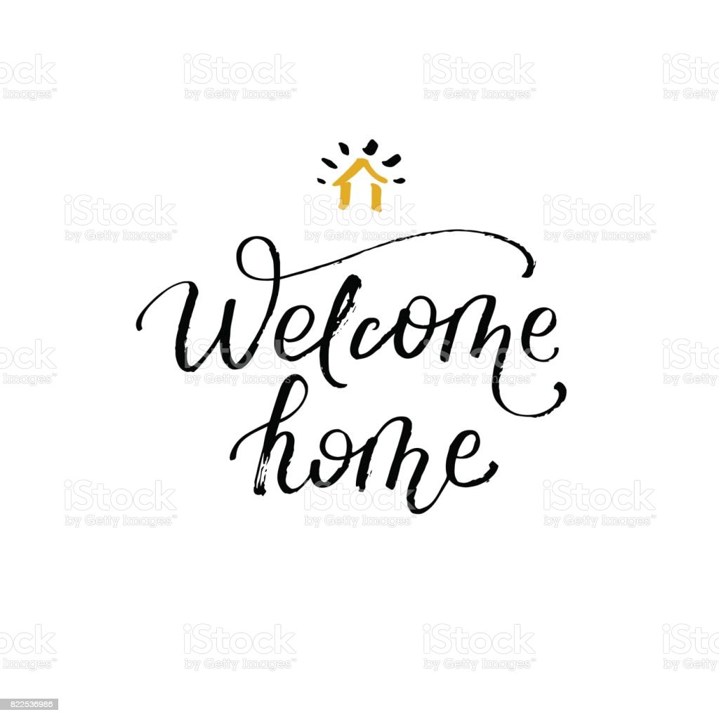 Welcome Home Greeting Card With Calligraphy Hand Drawn Design ...