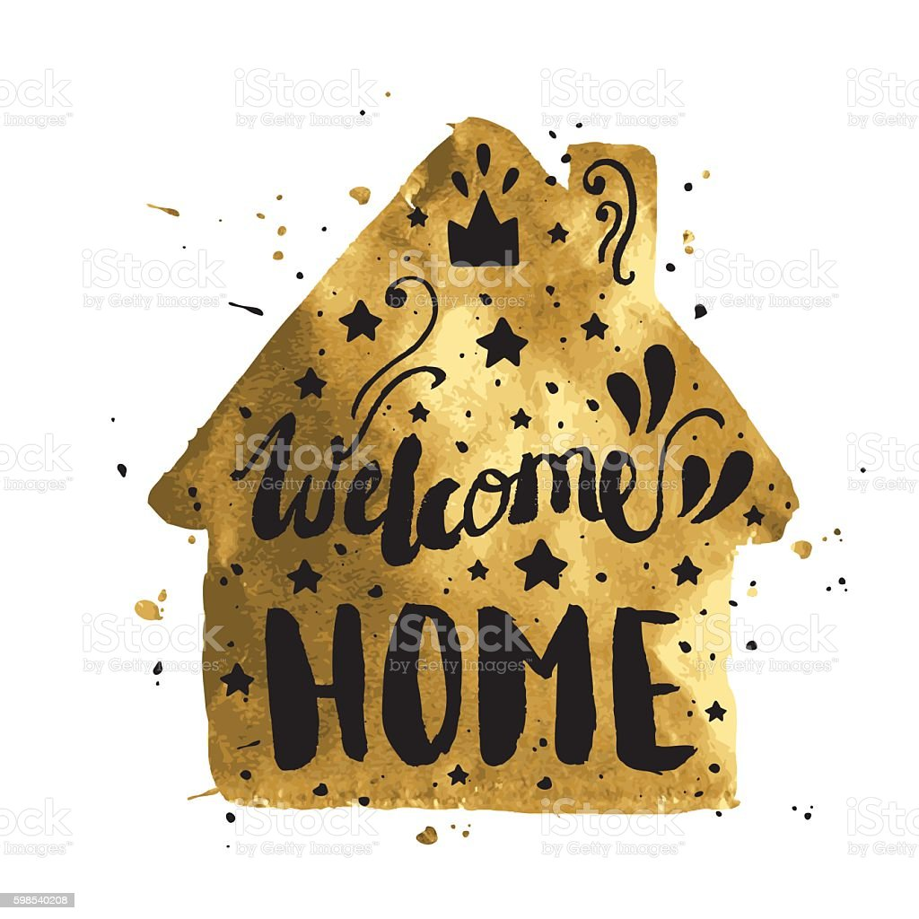 Welcome home modern lettering poster welcome home modern lettering poster – cliparts vectoriels et plus d'images de calligraphie libre de droits