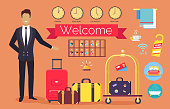 Welcome hotel service, administrator greeting clients, icons of bed, bath and towels, clock showing time in different cities vector illustration