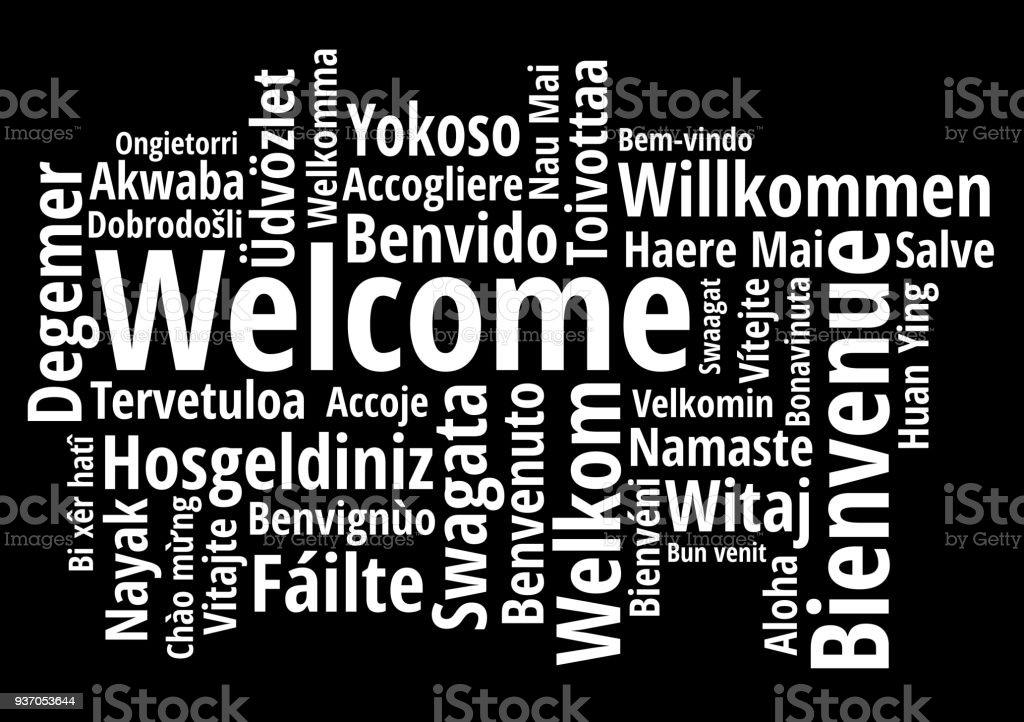 Bienvenida en diferentes idiomas wordcloud sobre fondo blanco - ilustración de arte vectorial
