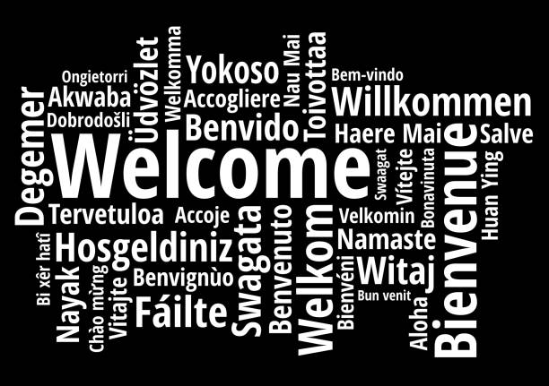 Welcome in different languages wordcloud on white background Welcome in different languages wordcloud on white background vector illustration greeting stock illustrations