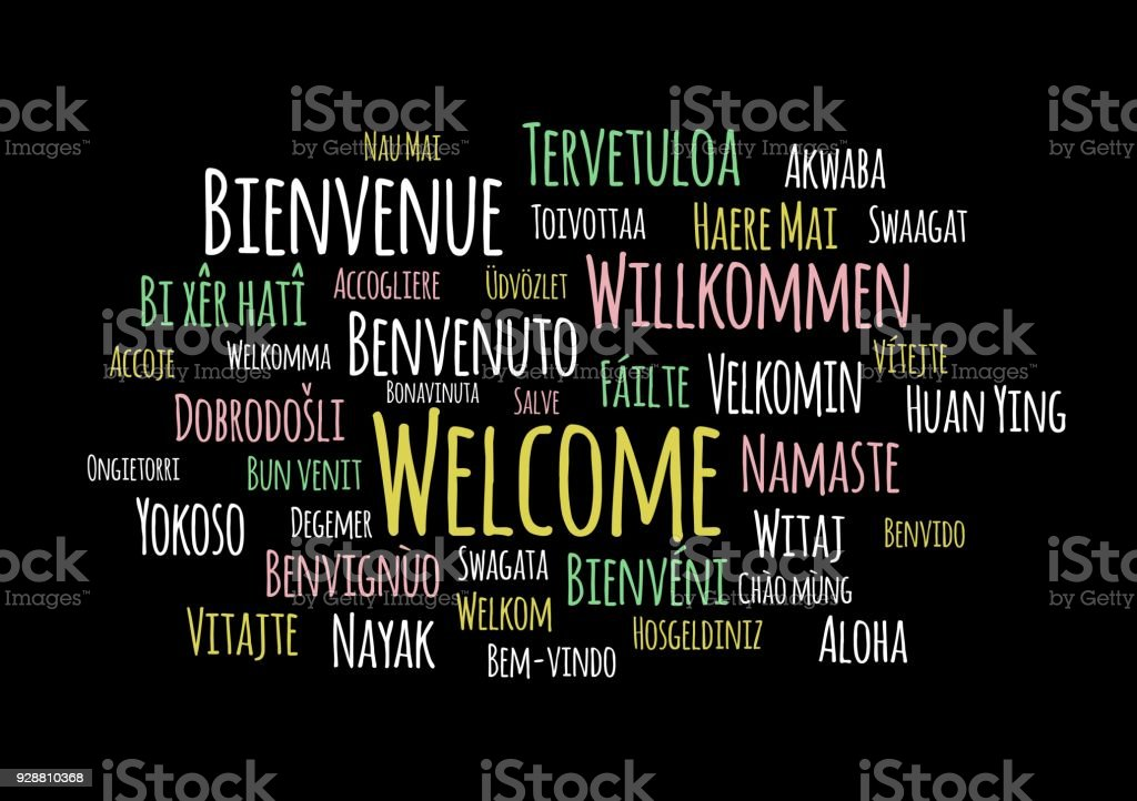Bienvenida en el vector de idiomas wordcloud sobre fondo negro - ilustración de arte vectorial