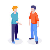 Welcome isometric characters. Isometric 3d flat design vector people trendy colors concept for web site and application design and presentation. Isolated vector sign symbol.