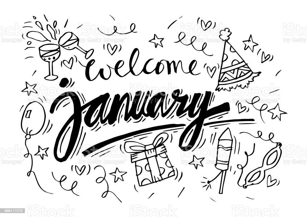 Welcome January Hand Lettering Calligraphy Stock