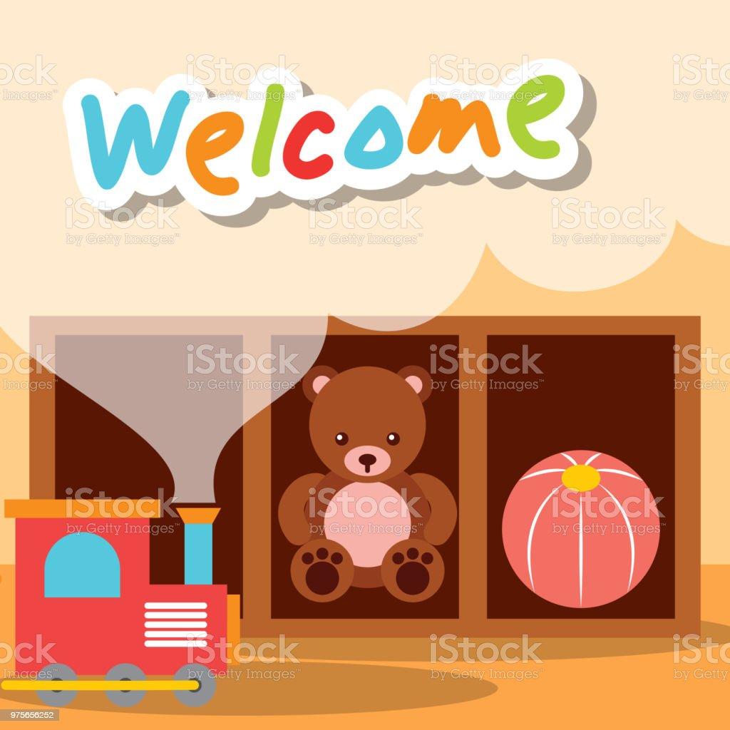 welcome kindergarten toys bear train and ball - ilustração de arte vetorial