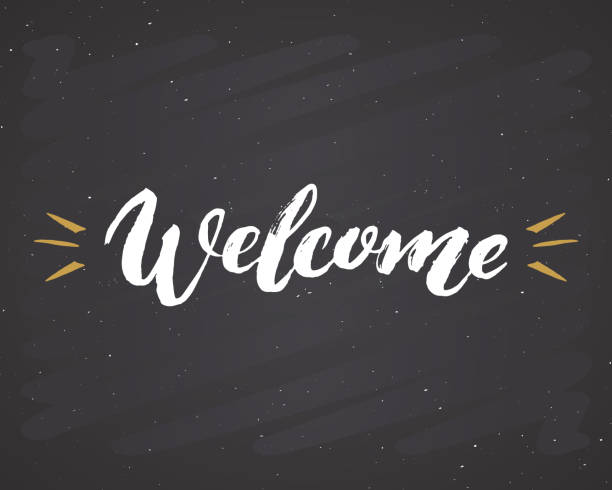 welcome lettering handwritten sign, hand drawn grunge calligraphic text. vector illustration on chalkboard background - tablica powitalna stock illustrations