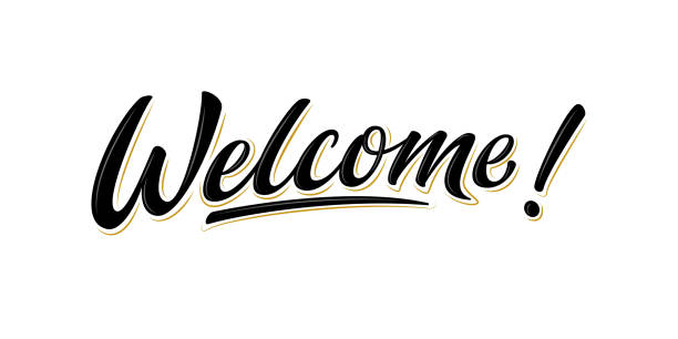 Welcome lettering sign. Isolated vector Handwritten modern brush lettering Welcome! on white background with stars. Text for postcard, invitation, T-shirt print design, banner, poster, web, icon. Isolated vector welcome sign stock illustrations