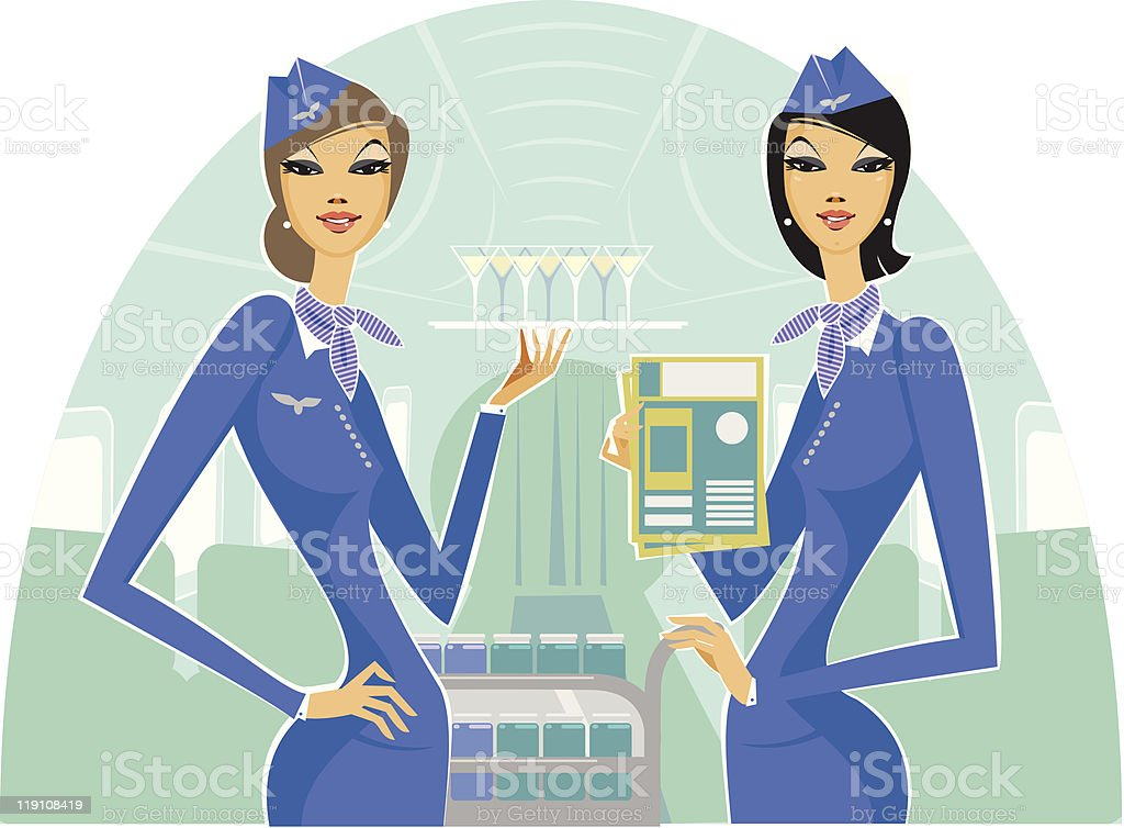 Welcome on Board airline poster featuring two air hostess royalty-free stock vector art