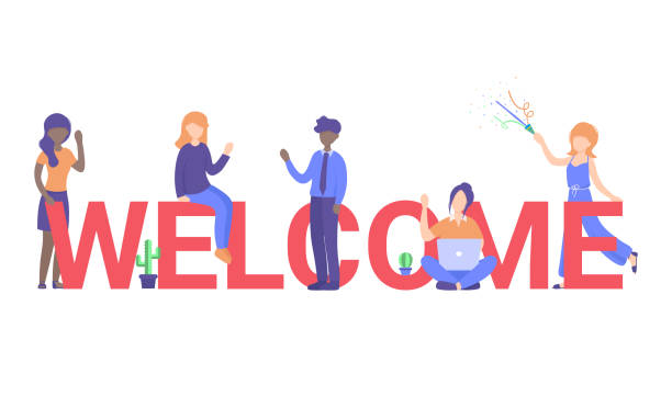 welcome people2 Concept new team member, welcome word, people celebrate, for web page, banner, presentation, social media, posters. Flat vector illustration. welcome sign stock illustrations