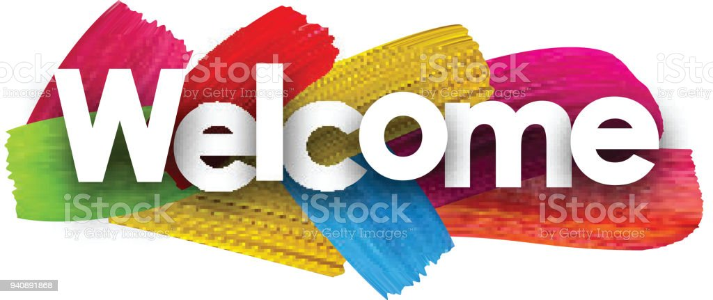 Welcome poster with brush strokes.