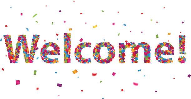 カラフルな紙吹雪のサインへようこそ - 挨拶点のイラスト素材/クリップアート素材/マンガ素材/アイコン素材