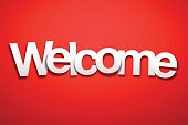 Welcome sign with Red Background. The letters of the text are white and have an paper effect, they are disordered and overlap between them.
