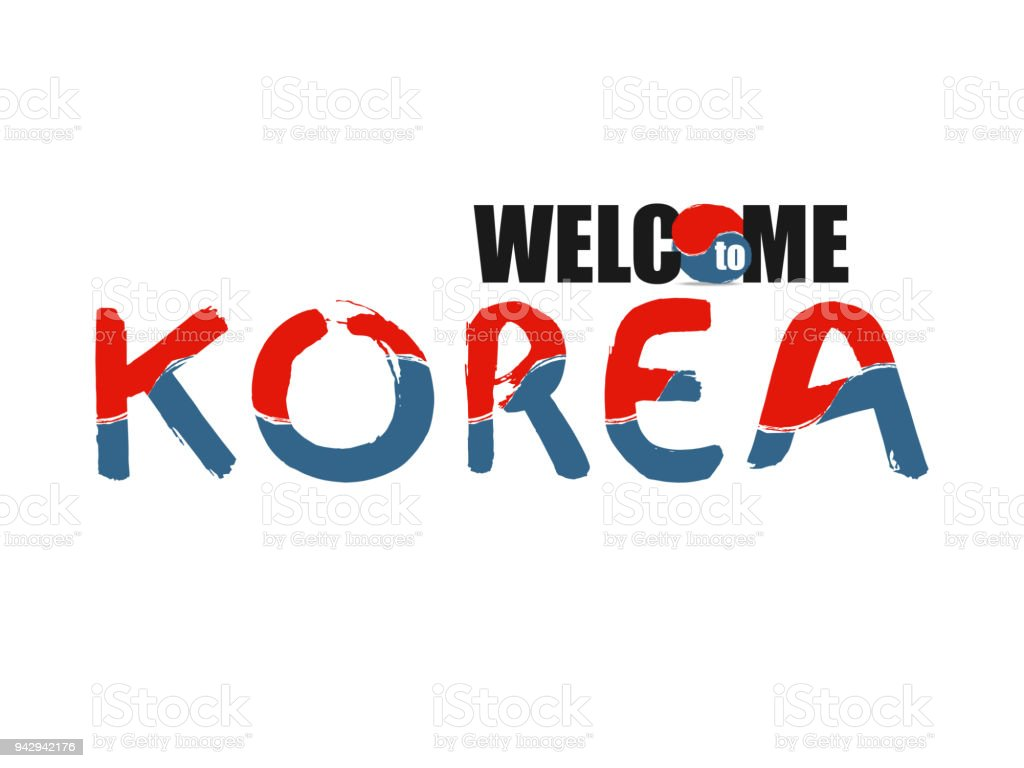 Welcome south korea font stylized of colors national country flag welcome south korea font stylized of colors national country flag hand drawn vector illustration buycottarizona Gallery