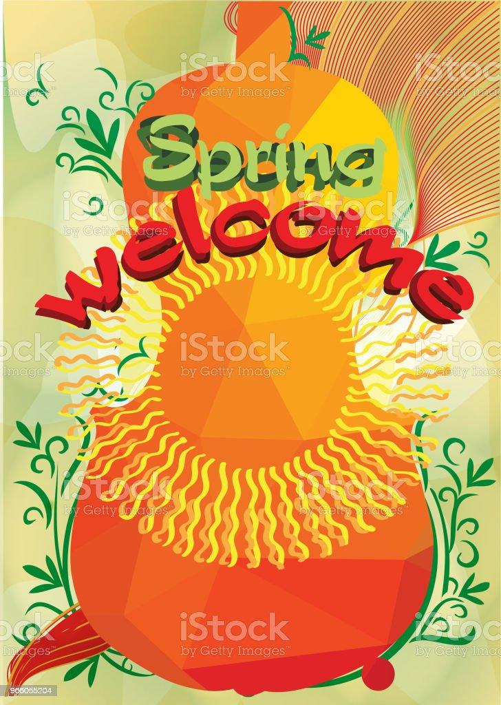 Willkommen Frühling und Musik - Lizenzfrei Blume Vektorgrafik