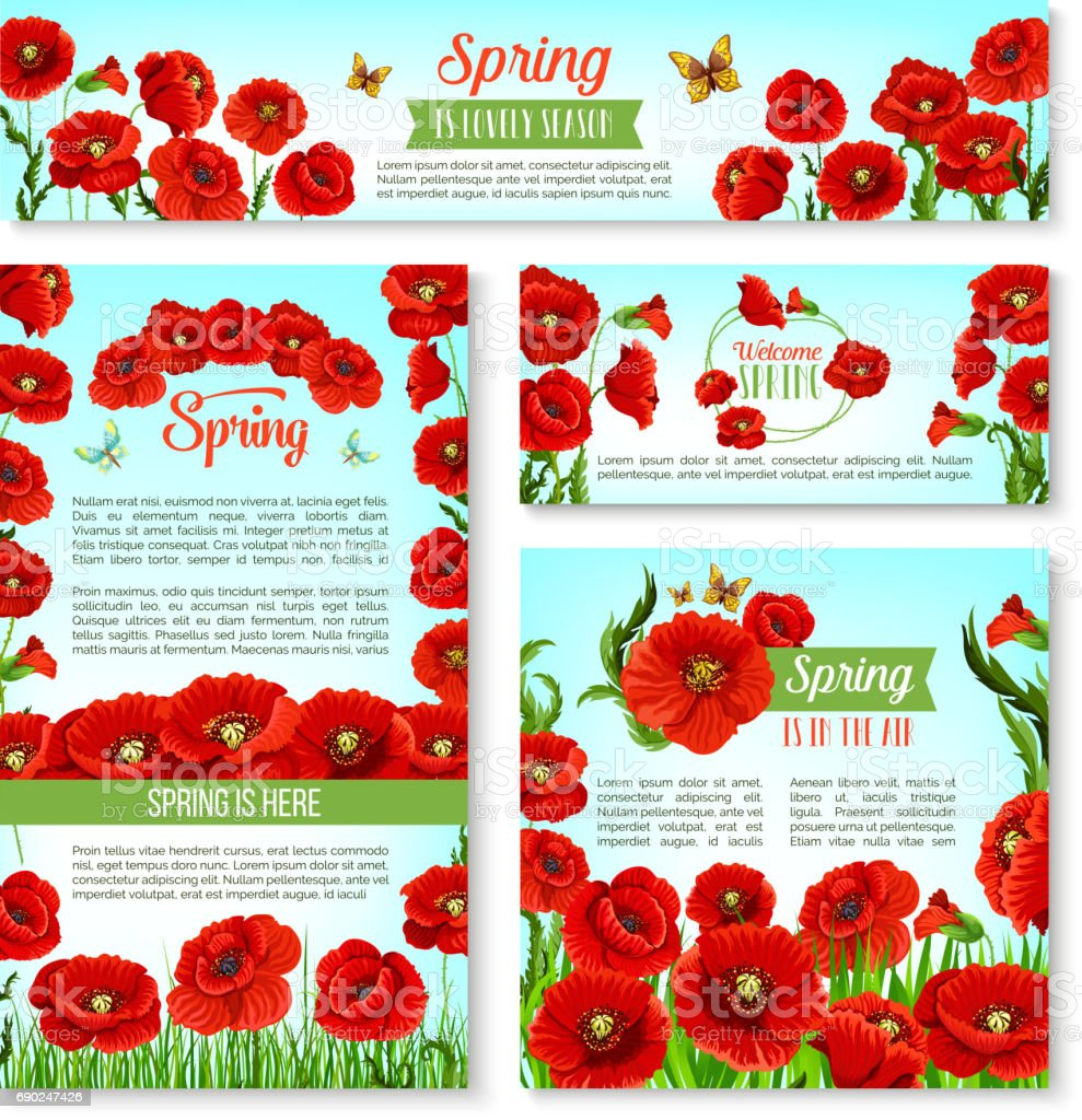 Welcome Spring Banner Template With Flowers Stock Vector Art More