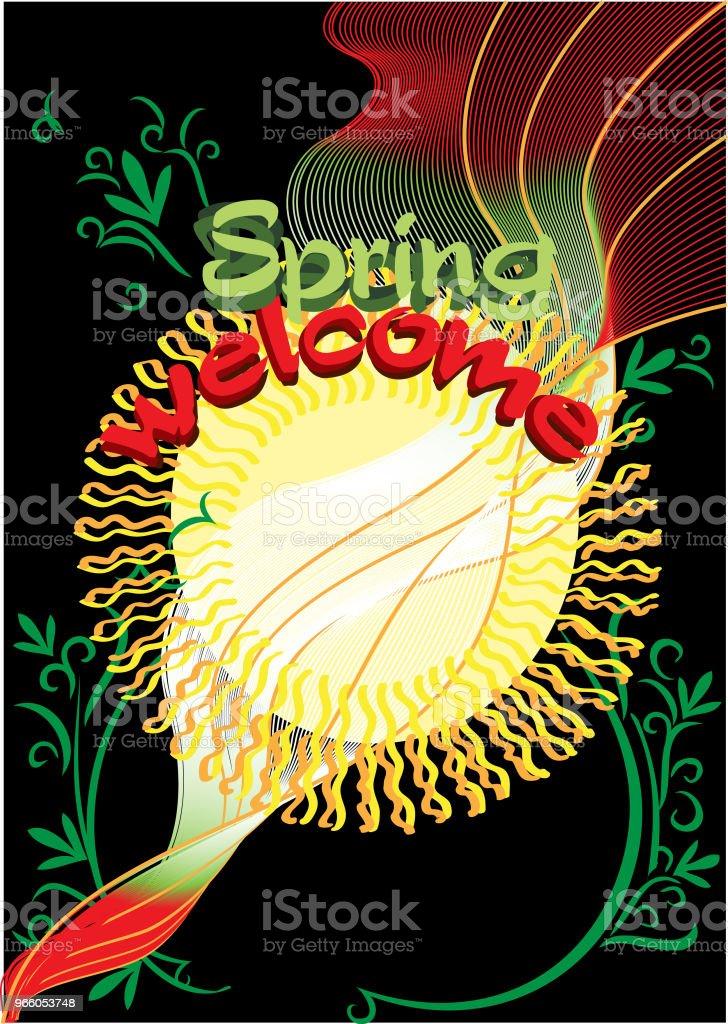 Välkommen våren svart bakgrund - Royaltyfri Affisch vektorgrafik